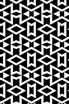 Tribal - Black and White Geometric - Black and white geometric shapes in a tribal pattern on fabric, wallpaper, and gift wrap.