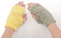 Day & Night Fingerless Gloves-  Design by Susanna Tobias This pattern makes a soft little extra to keep hands warm. Try getting creative with different yarns to change the look from practical to fancy. You'll find they make great gifts that are quick to finish. Skill Level- Intermediate Finished Size: One size fits most from Talking Crochet Newsletter
