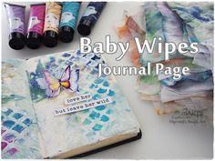 Baby Wipes Art Journal Page Process ♡ Maremi's Small Art ♡ - YouTube