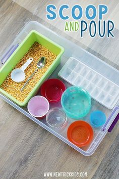 Shovel and trash can! A simple and appealing sensory recipe for . Shovel and trash can! A simple and appealing sensory recipe to promote fine motor skills . - the 20 Creati. Sensory Activities Toddlers, Motor Skills Activities, Games For Toddlers, Montessori Activities, Infant Activities, Sensory Play, Toddler Activities For Daycare, 2 Year Old Activities, Toddler Sensory Bins