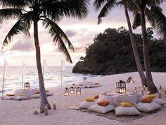 Beach at sunset... Or a wedding reception idea!