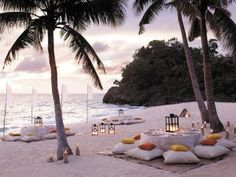 Beach at sunset... Or a wedding reception idea!