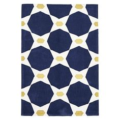 Establish a nautical style in your home with the geometric looks and plush pile of the Avoca Navy Modern Rug from Rug Culture.