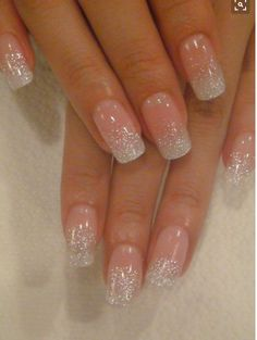 snowy glitter french manicure sparkle