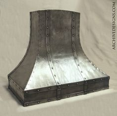 Hammered nickel kitchen hood with antique patina. When designing I draw inspiration from Arts & Crafts, Craftsman, Mission, Japanesque, Rustic, Early Industrial, Modern and Steampunk, among others.