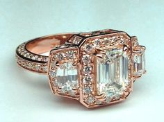 Emerald Diamond Vintage Design Halo Engagement Ring Cadillac trapezoids side stones in Pink Gold - ES648ECRG