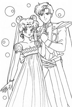 Princess Serenity and Prince Endymion Coloring Page // #sailormoon