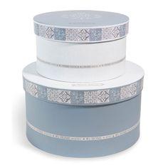 2 boîtes rondes en carton bleues/blanches D 25 et D 19 cm SNOW HOME