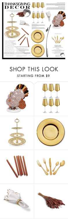 """""""Thanksgiving Decor"""" by krischigo ❤ liked on Polyvore featuring interior, interiors, interior design, home, home decor, interior decorating, Herend, Leonardo, Royal Collection Trust and AERIN"""