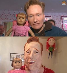 Conan O'Brien with Agnes the American Girl, and their imposters
