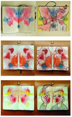 sketchbook e o uso das duas paginas dele para compor uma arte . Experimentar é criar !                                                                                                                                                      More