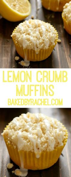 Moist and fluffy homemade lemon crumb muffins with a sweet lemon glaze. Recipe from @bakedbyrachel