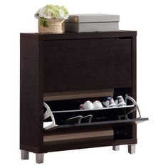Shoe cabinet with two drawers and steel details. Product: Shoe cabinetConstruction Material: Engineered wood, st...