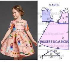 Pattern for kids dress Girl Dress Patterns, Clothing Patterns, Sewing For Kids, Baby Sewing, Fashion Kids, Old Dress, Little Girl Dresses, Girls Dresses, Summer Dresses