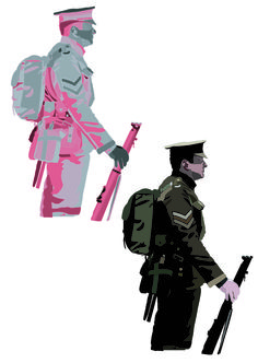 The soldier effects I used on this design was neon glow for the left soldier and the right soldier I used a darken effect. In my opinion I feel that these effects aren't a good path way to go into for final design work.