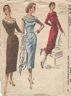 "1955 Vintage Sewing Pattern B30"" DRESS (130) #McCalls"