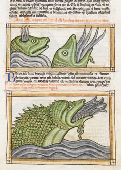 British Library, Harley 3244, f. 65r (whales). Bestiary. England, c.1236-1250.