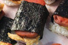 Spam and Spicy Egg Musubi Spam Musubi, Japanese Snacks, Spicy, Roast, Sandwiches, Pork, Eggs, Kale Stir Fry, Egg