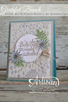 Great card using the Grateful Bunch stamp set and Blossom Bunch Punch #stampinup