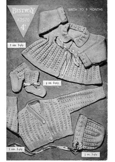 Bestway a2570 Vintage Knitting Pattern, Matinee Jacket Knitting Pattern, Baby Socks Vintage PDF Pattern - pinned by pin4etsy.com
