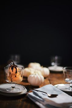 West Elm + A Brown Table: Pumpkin Ice Cream with maple syrup and balsamic vinegar drizzle!