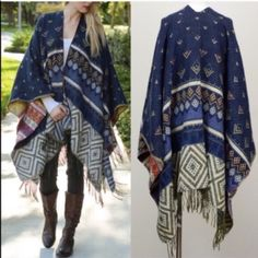 """🆕The KARA print tassel poncho - NAVY Multi pattern tassel poncho. Exceptional quality.,dimensions 61"""" x 55"""". 100% acrylic. AVAILABLE IN GREY & NAVY🚨NO TRADE, PRICE FIRM🚨 Bellanblue Accessories Scarves & Wraps"""
