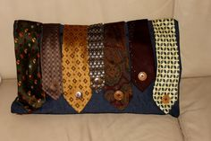 VINTAGE TIES jeans CUSHION with botton details by Annas7Closet, $70.00