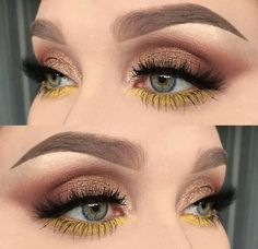 Hello my pumpkins, I couldn't help but notice how trendy yellow eye makeup looks were this summer. I've seen endless of creative makeup looks using bright yellow eyeshadow [or in some cases, eyeliner]; some beauty… Gorgeous Makeup, Love Makeup, Makeup Inspo, Makeup Art, Makeup Inspiration, Beauty Makeup, Hair Makeup, Cheap Makeup, Crazy Makeup
