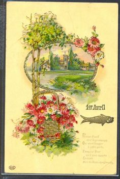 NC093-1er-AVRIL-APRIL-FOOLS-POISSON-PAQUERETTES-Paysage-DORURES-Gaufree-Embossed