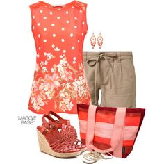 """Outfit of the Day: """"Coral Spot"""" Made with ♥ by Maggie Bags on #Polyvore #MaggieBags #handbags #purses #fashion #ootd"""
