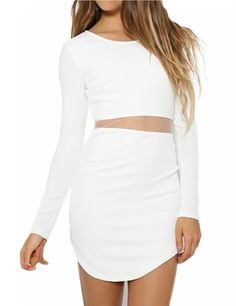 Crew Neck Long Sleeve Crop Top Two Piece Bodycon Short Dress - Yesfashion.com in Free Shipping