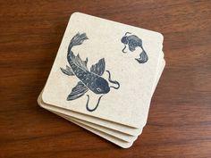 Koi Fish Coasters  hand stamped coasters koi by DangBatIndustries