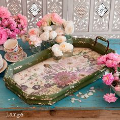 Wood Floral Serving Trays from Rachel Ashwell Shabby Chic Couture