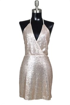 Champagne Taste Open Back Sequin Dress - Rose Gold