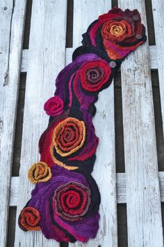 Crochet Scarf Roses Shadows Purple Black Orange Red by Degra2