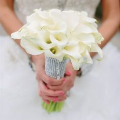 White Calla Lily Bridal Bouquet - the sleeve can also be in gold...