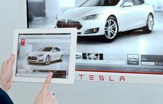 Tesla client looking at kiosk.