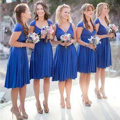 Convertible Royal Blue Short Jersey Bridesmaid Dresses, Wedding Guest Dresses, WG151