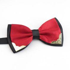 DQT Knit Tricot plaine solide rouge classique pour homme Pre-Tied Bow Tie