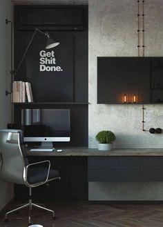 20 Inspiration Home Office Desk ( The Most Comfortable Work Desk) - Pandriva Mesa Home Office, Home Office Setup, Home Office Space, Home Office Desks, Office Ideas, Men Office, Office Decor, Office Workspace, Desk Ideas