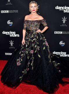 Julianne Hough in a black floral Georges Hobeika dress