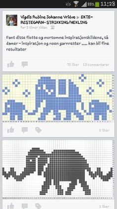 elephants - Lilly is Love Pixel Crochet, Crochet Motif, Fair Isle Knitting, Loom Knitting, Cross Stitch Borders, Cross Stitch Patterns, Elephant Cross Stitch, Elephant Pattern, Fair Isle Pattern