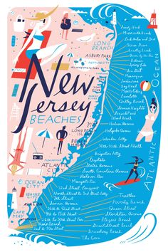 A map of all of the beaches along the Jersey Shore, from Sandy Hook to Cape May.
