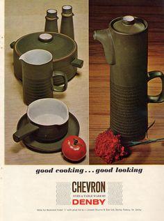 Denby. Chevron. 1961-62. Designed by Gill Pemberton for Denby Pottery.