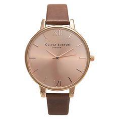 Olivia Burton Women's Big Dial Leather Strap Watch, Brown/Rose Gold