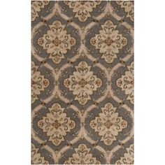 8 x 11 Dahlia Pinnata Elephant Gray and Dark Khaki Wool Rectangular Area Rug *** Check this awesome product by going to the link at the image.