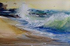 Laguna Beach South View by Sandy Strohschein Watercolor ~ 12 x 18