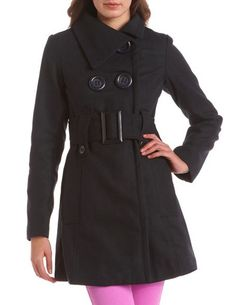 Exaggerated Button Wool Coat: Charlotte Russe