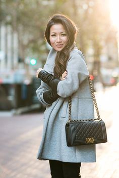 San Francisco :: Knit coat & Leather sleeves