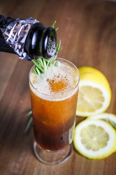 Roman Holiday Cocktail: Lemon, Honey, Amaro, Prosecco | {Katie at the Kitchen Door}